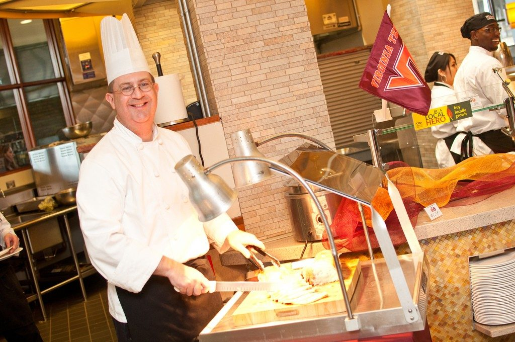 Executive Chef John Scherer shares Hokie dining -- and Hokie spirit -- at the 2012 event.