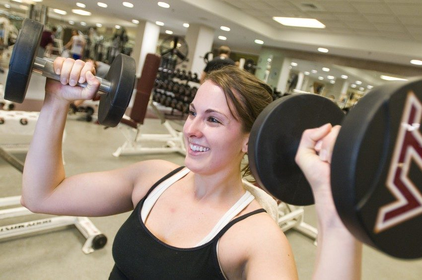 "A ""Ladies' Night"" in the McComas weight room is one of many events offered during Eating Issues and Body Image Awareness Week."