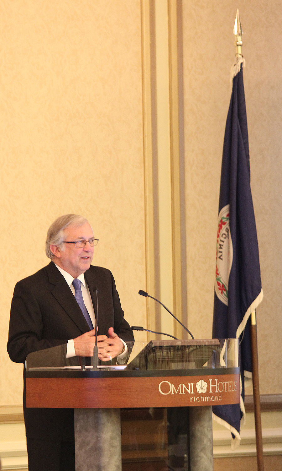 Virginia Tech President Charles W. Steger gives a speech at the recent Governor's Conference on Agricultural Trade.
