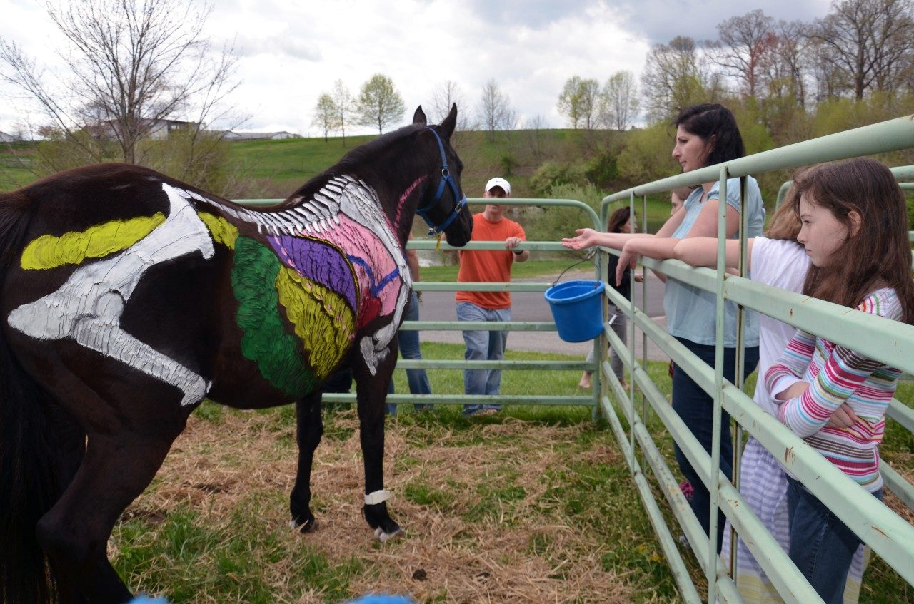 A painted horse at last year's Annual Open House teaches children about equine anatomy.