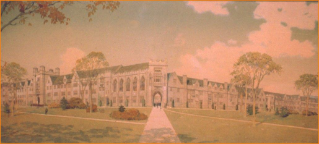 In the early 20th century, Virginia Agricultural & Mechanical College and Polytechnic Institute President John McBryde commissioned designs for converting the red brick core campus, then centered on the upper quad, to the then emerging collegiate gothic style of architecture. Though never built, these concepts inspired Virginia Tech's campus architecture prevalent today.