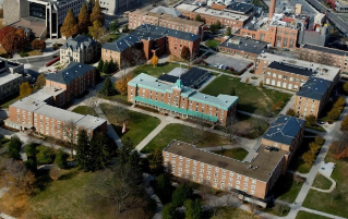 The current configuration of the Upper Quad showing Brodie Hall (lower left), Rasche Hall (lower right), and Lane Hall (center).