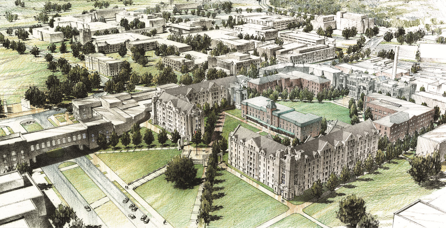 Four firms competed in a design competition to describe the Upper Quad and possible configurations for new residence halls and a new administration building. This rendering shows one of the concepts.