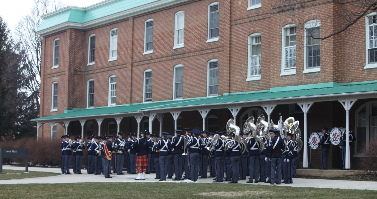 The Regimental Band, the Highty-Tighties, perform in front of Lane Hall during a recent retreat ceremony.