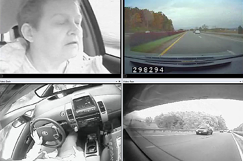 driver with eyes shut and other images from on-board camers