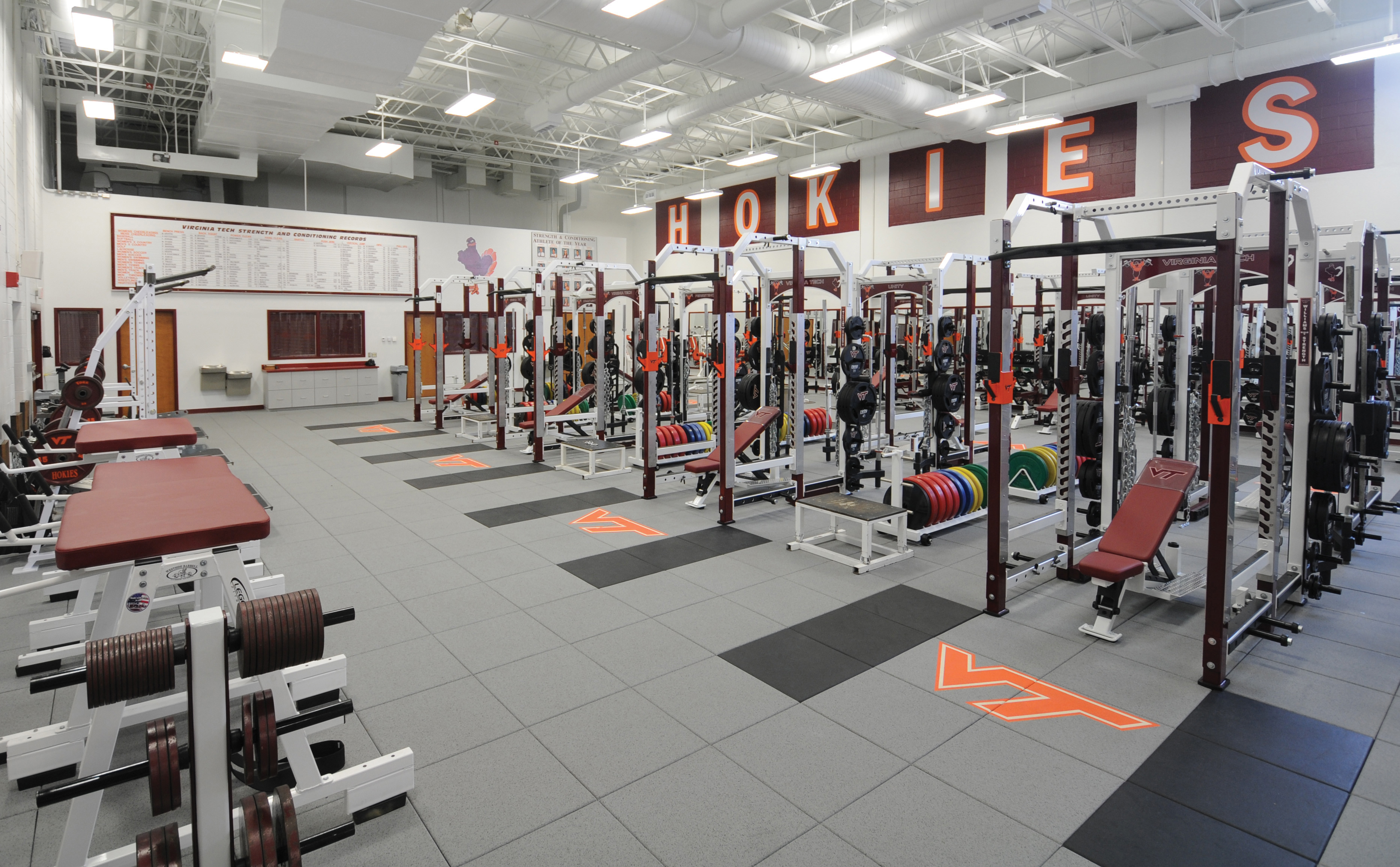 A photo of the renovated strength and conditioning room that is part of the W.A. and Mae Street Olympic Sports Complex, located in Cassell Coliseum.