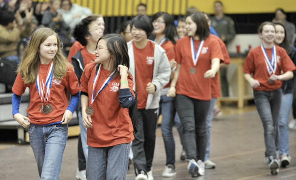 Students from the 2012 Virginia Science Olympiad celebrate their victories after the award ceremony.