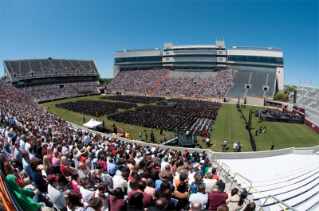 Typically, about 30,000 people descend on the Blacksburg, Va., area for Virginia Tech's spring commencement ceremony.