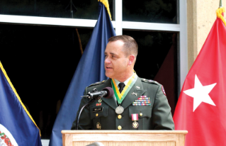 Retired U.S. Army Col. Britt Mallow, who graduated from Virginia Tech in 1977, at his retirement ceremony in 2005.