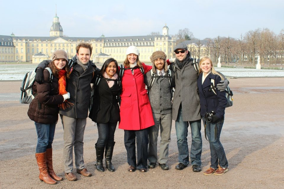 Group of students in front of Karlsruhe Palace