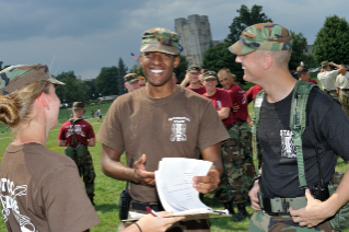 Kareim Oliphant, regimental commander in fall 2012, got the thumbs up from entering cadets during new cadet week.