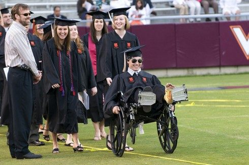 University officials estimate that more than 1,500 of the individuals who attend commencement will need assistance or accommodations due to a disability.