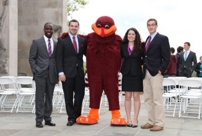 The 2013-14 Student Government Association officers pose with the HokieBird; (from left to right) Bryan Mitchell, Brent Ashley, Anjelica Smith, and Andrew Higgins.