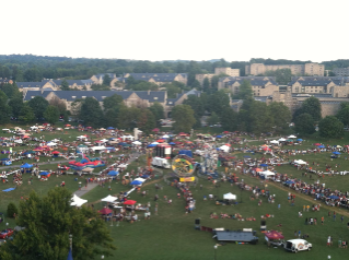Aerial picture of Gobblerfest from the roof of Burruss Hall