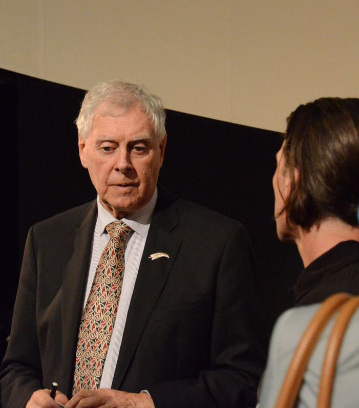 Bob Harvery talks to member of audience after his presentation