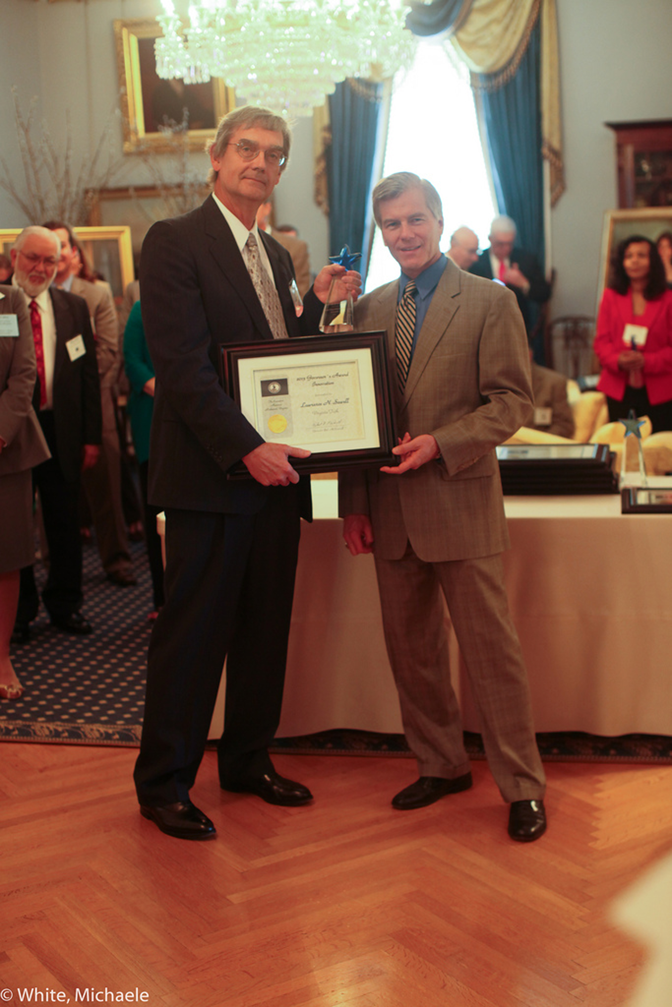 Gov. Bob McDonnell presented Lawrence Sewell with the Governor's Award for Innovation during a ceremony at the Executive Mansion in Richmond, Va., on June 28.