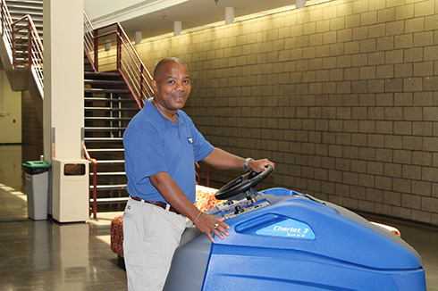 New automatic floor scrubber in Hancock Hall