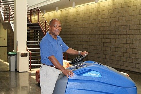 Thanks to the new automatic floor scrubber in Hancock Hall, housekeeper Jeff Moyer is now able to clean the building's 25,000 square feet of floors in three hours. The process used to take three days using a mop and broom.