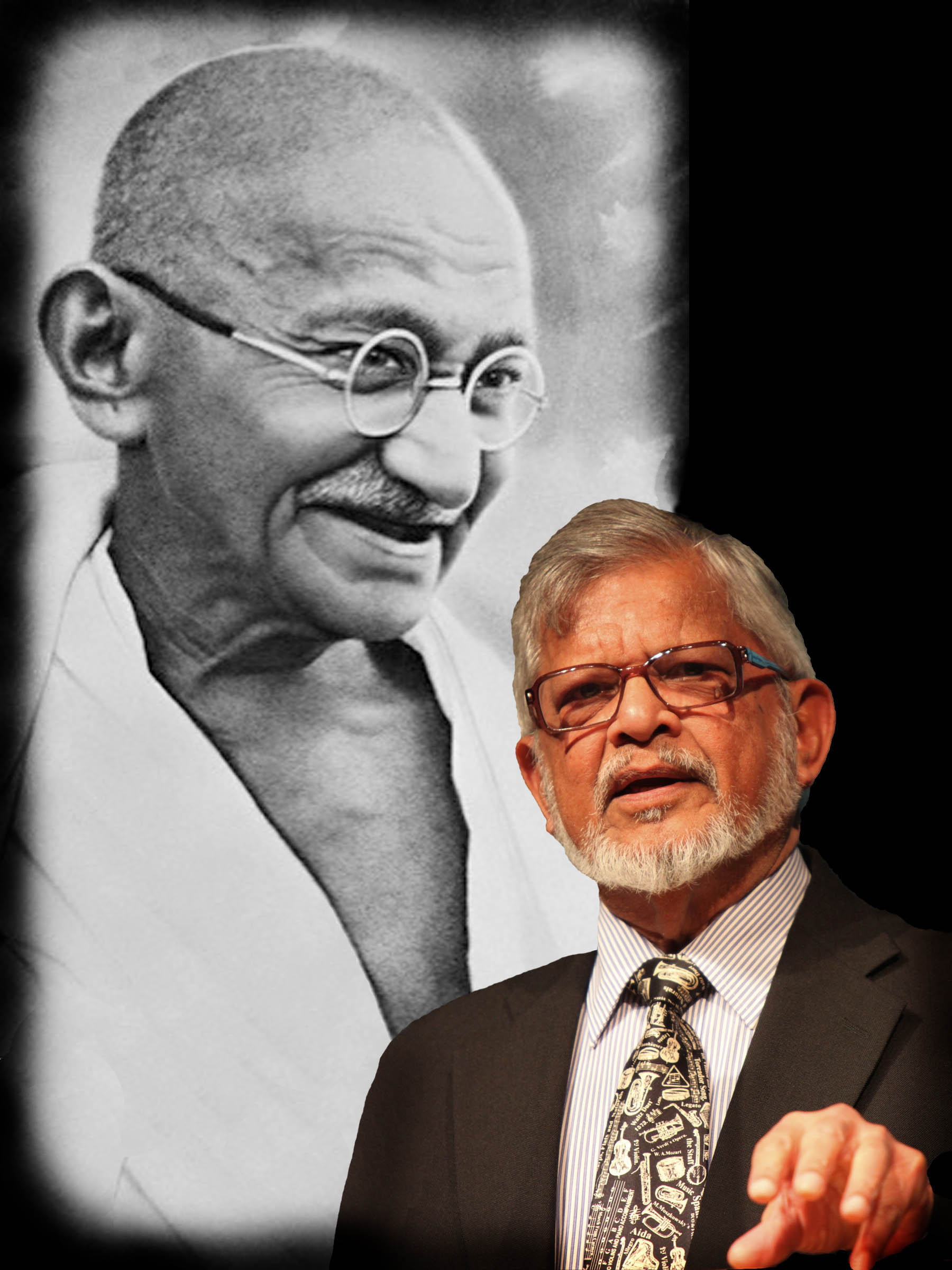 photo of Arun Gandhi with his grandfather, Mahatma K. Gandhi, in the background