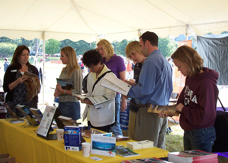 Students gather information about study abroad programs at the annual fair.