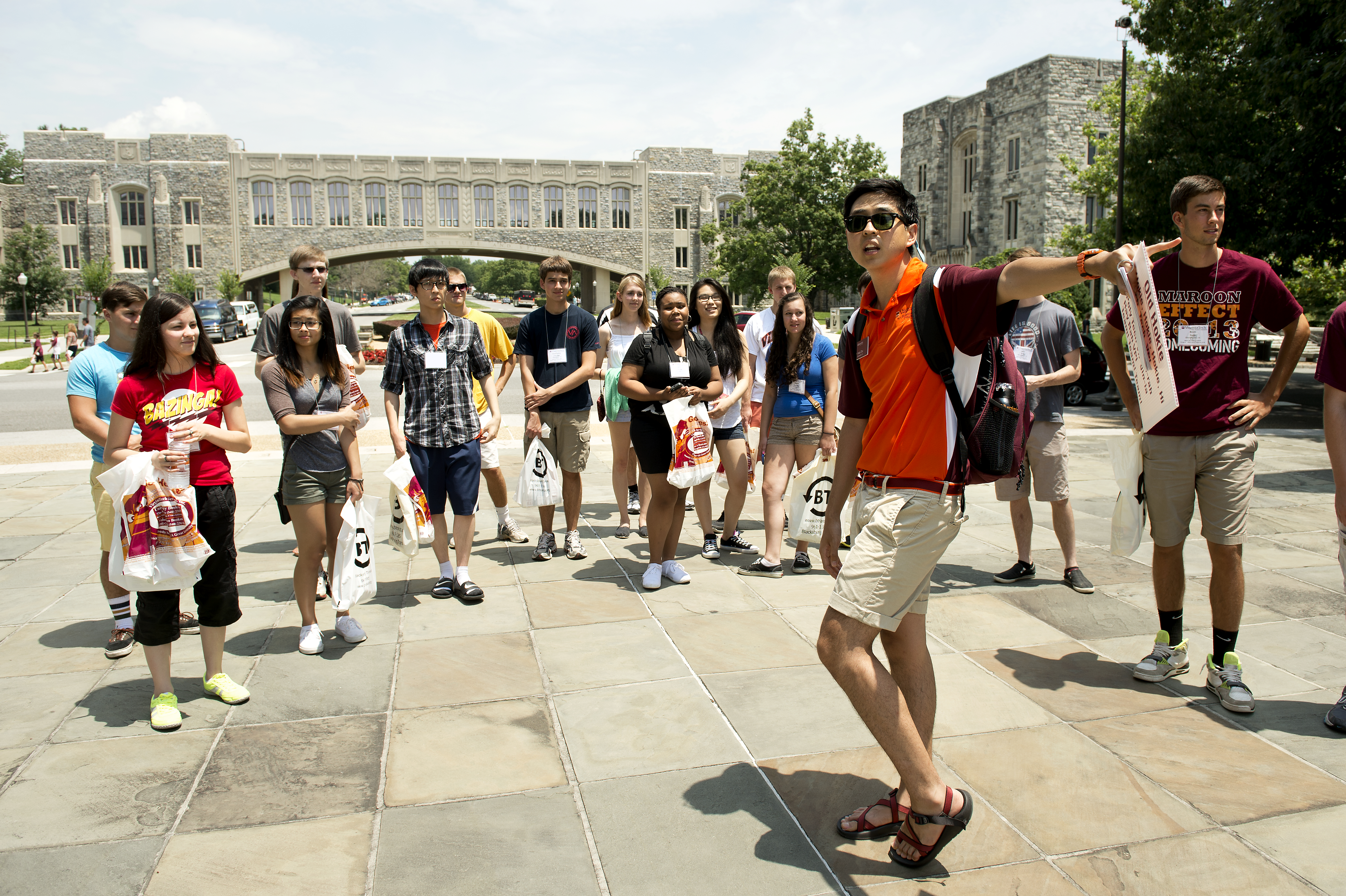 Students are guided on a campus tour during orientation.