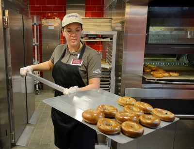 Students can pick up a bagel and coffee at the first university-run Bruegger's Bagels.