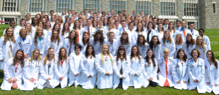 During the matriculation ceremony, each member of the Class of 2017 received a white lab coat and a stethoscope before reading the veterinary students' oath and assembling for a group photo.