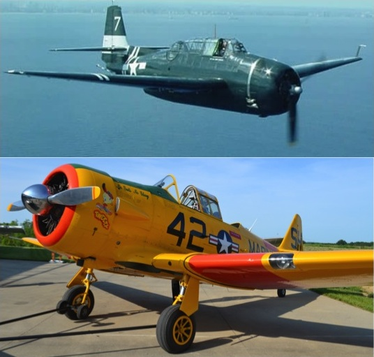 A Grumman TBM-3 Avenger Torpedo Bomber (top) and a North American AT-6 Texan Advanced Trainer (bottom)