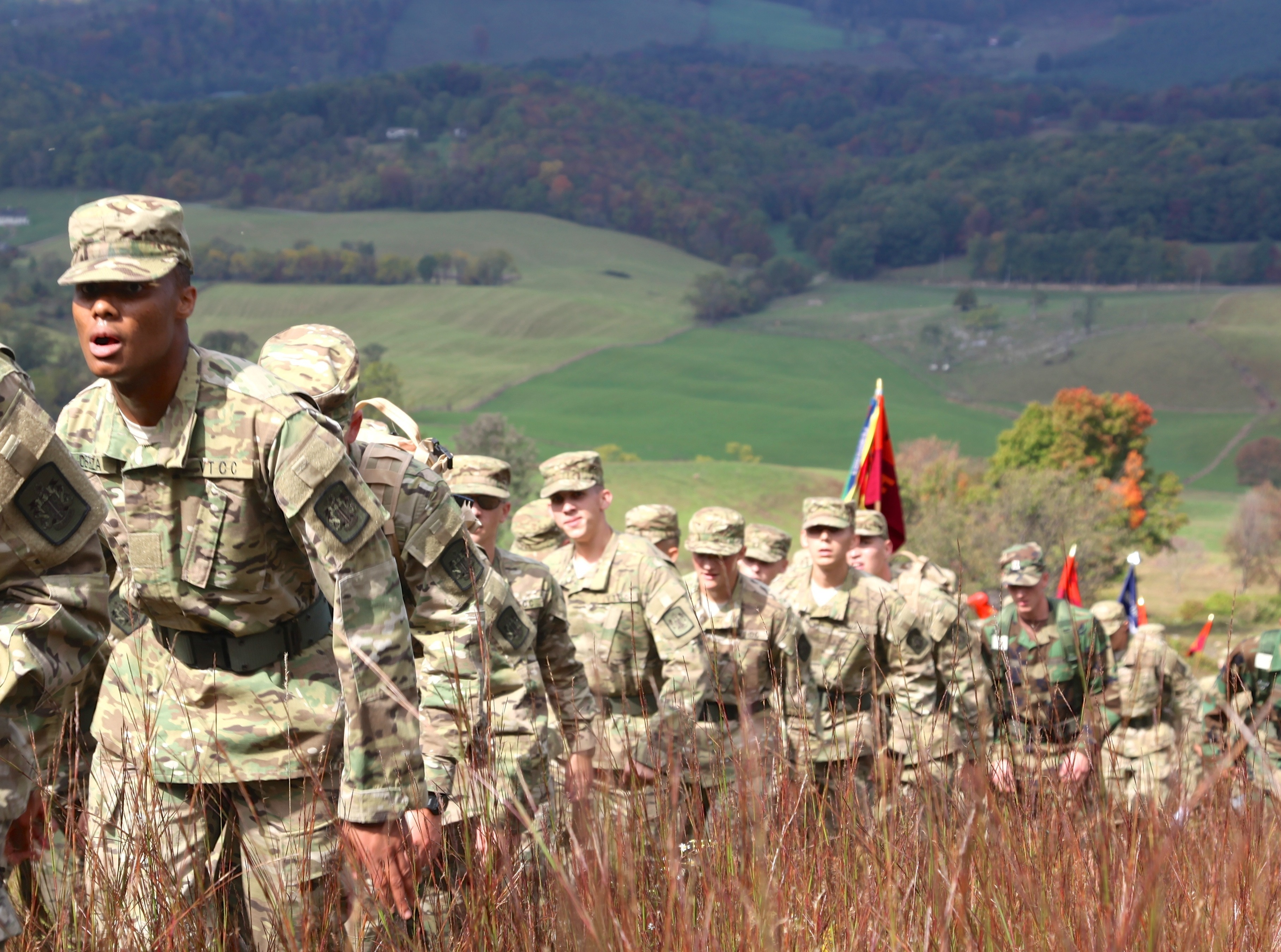 Cadets in formation climb Sinking Creek Mountain on the fall leg of the Caldwell March.