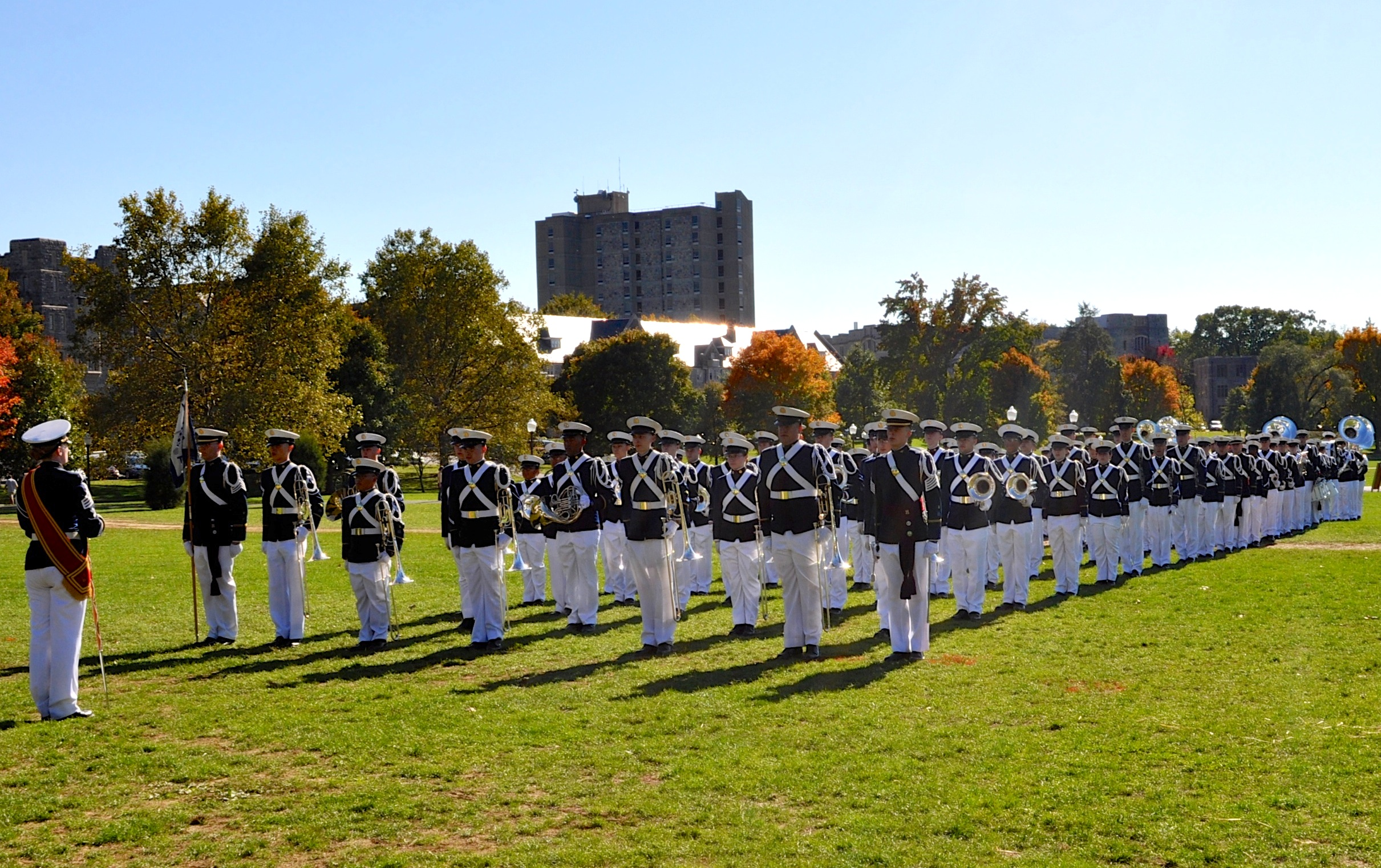 The Virginia Tech Corps of Cadets regimental band, the Highty-Tighties on the Drillfield.