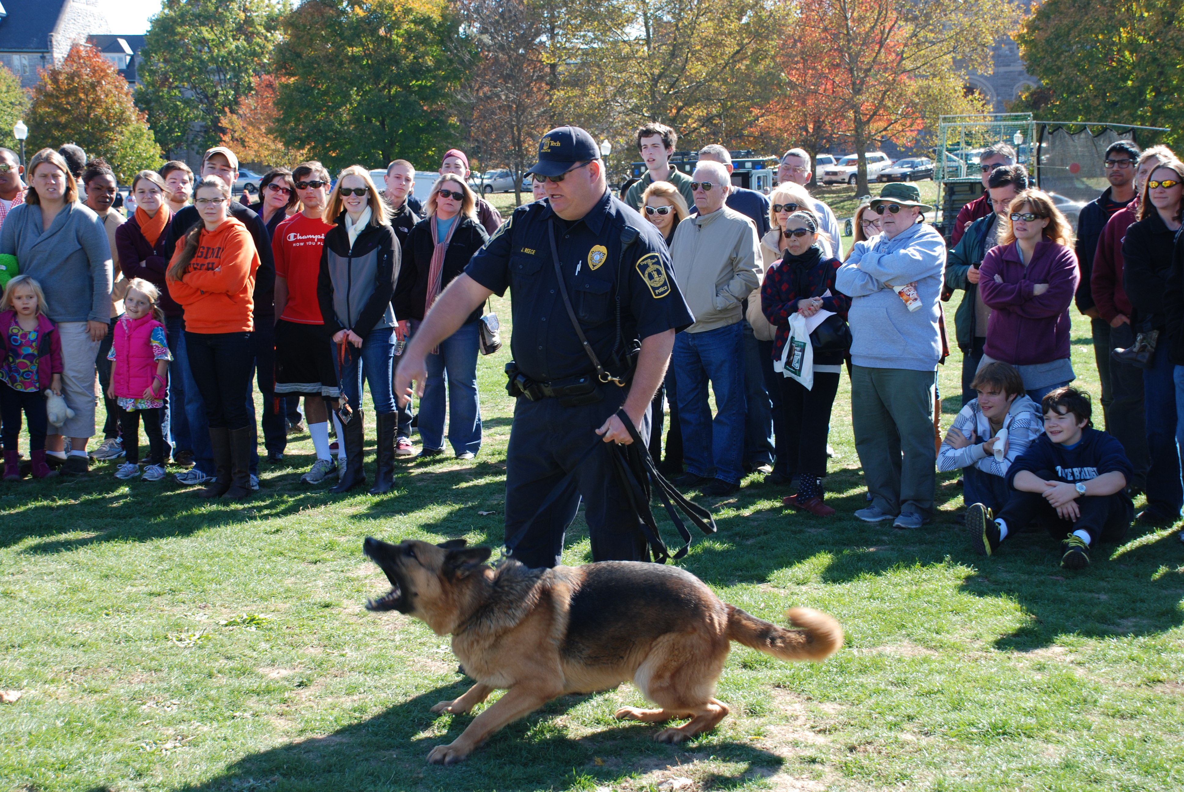 Virginia Tech Police Department does a K-9 demonstration on Community Day.