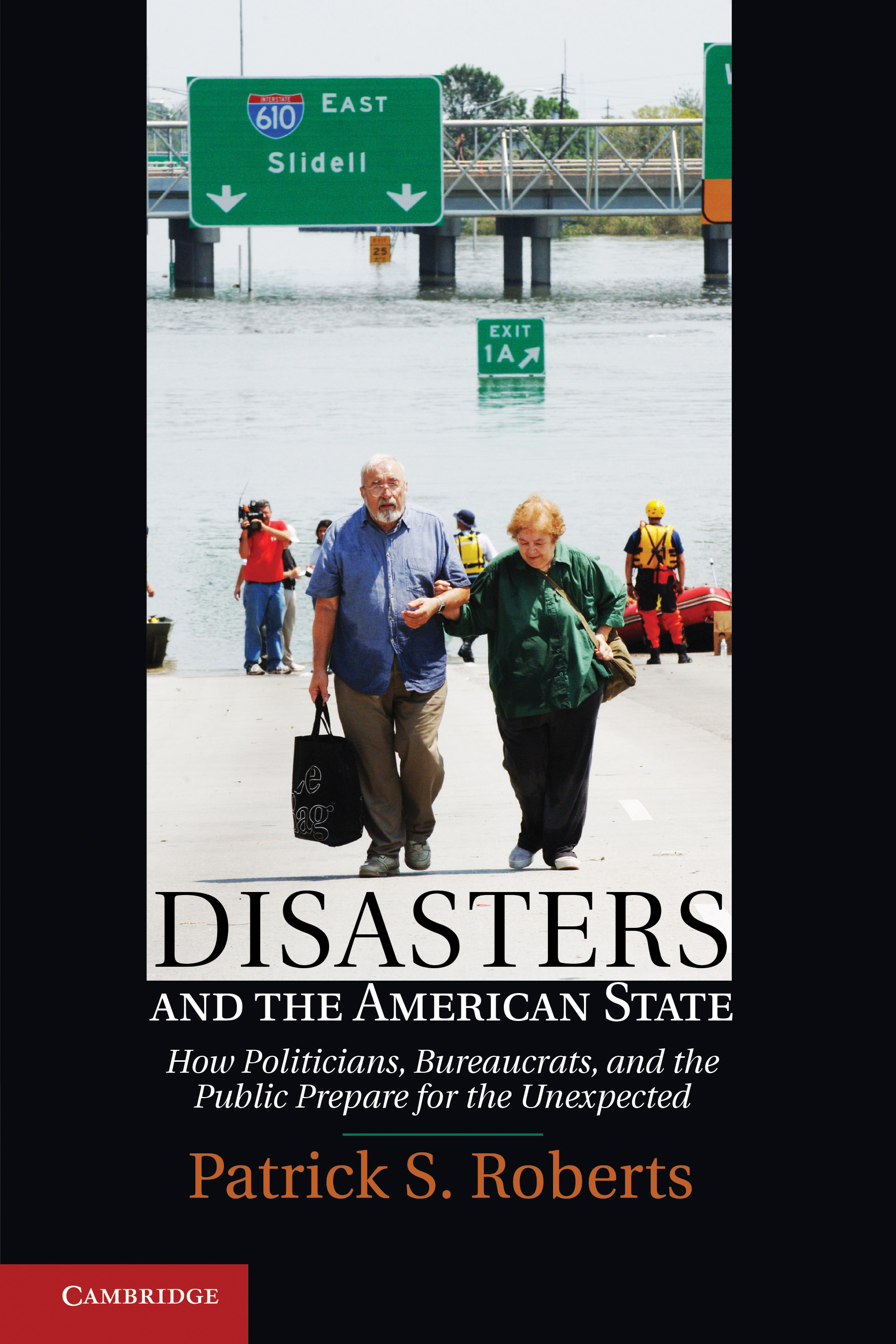 A book cover showing an older, distressed man supporting a woman as they walk away from a flood