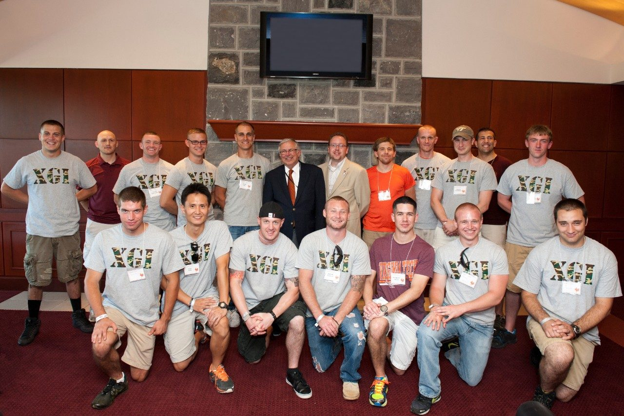 University President Charles W. Steger invited a group of student veterans to his box in Lane Stadium for the Virginia Tech and Western Carolina home football game on Sept. 7, 2013.