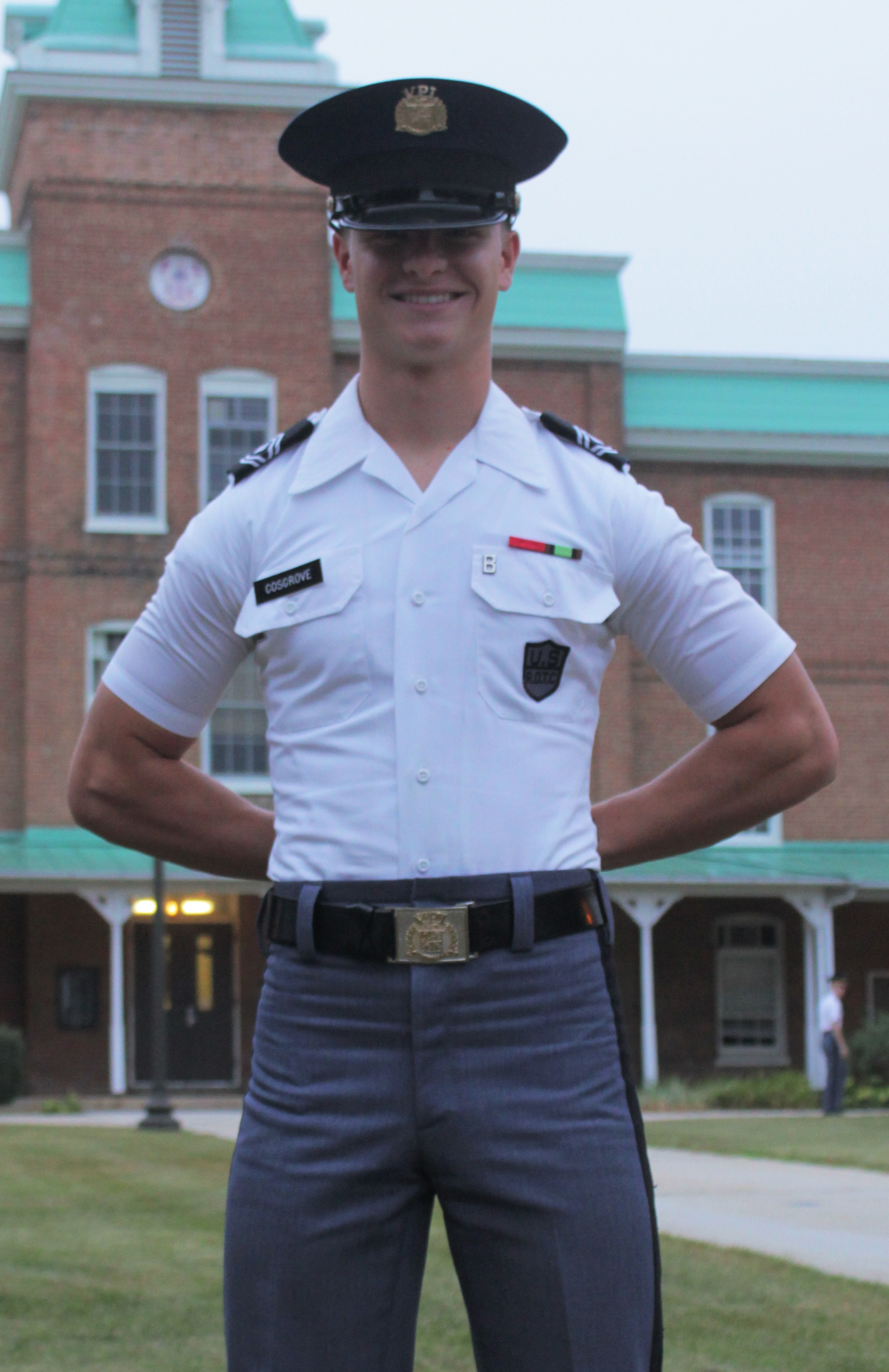 Cadet 1st Sgt. Conor Cosgrove standing in front of Lane Hall.