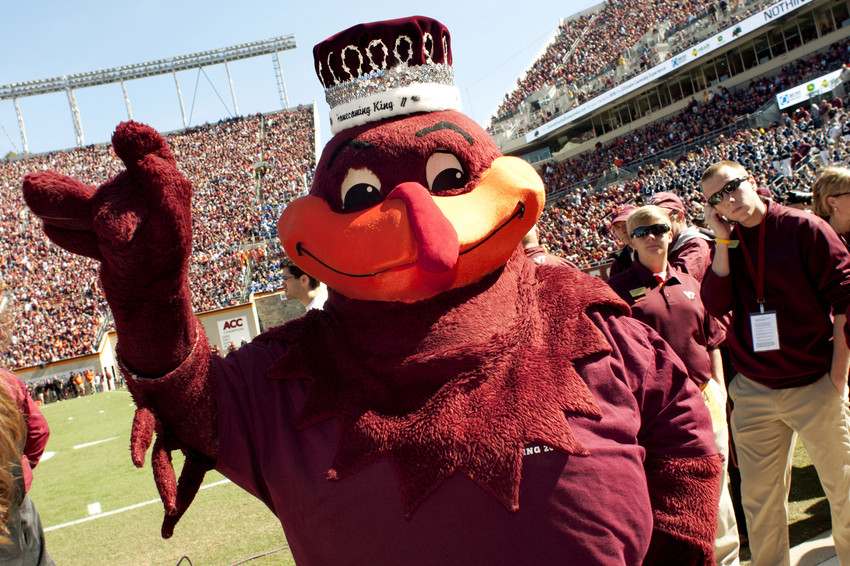 The Virginia Tech mascot wears a crown.