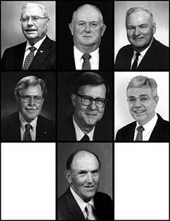 Top row: John Henry Carter Jr., Ernest E. Copenhaver, Harold W. Craun, and Hubert John Gerken Jr. Bottom row: Ervin T. Kornegay, David A. Leonard, and John William Riley.