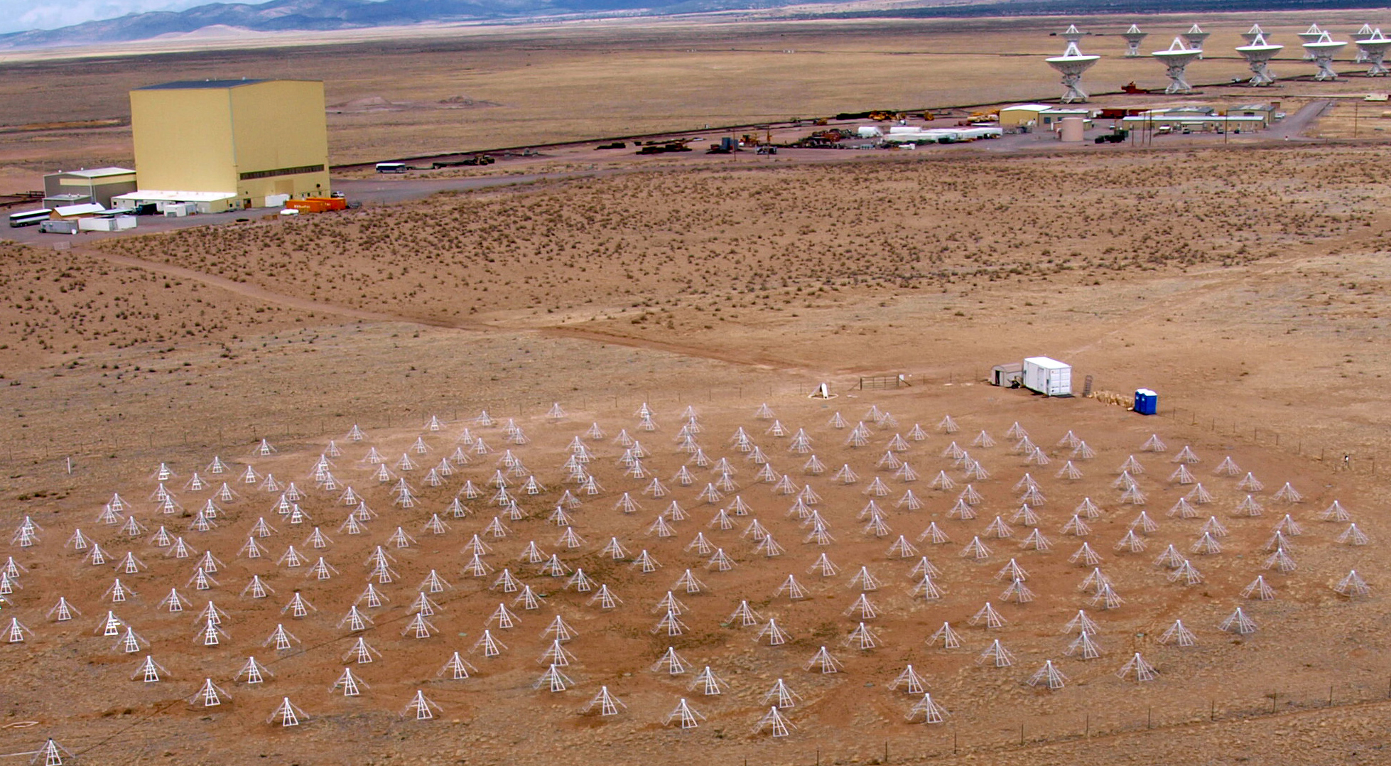 Aerial view of Long Wavelength Array Radio Telescope, in the New Mexico desert.