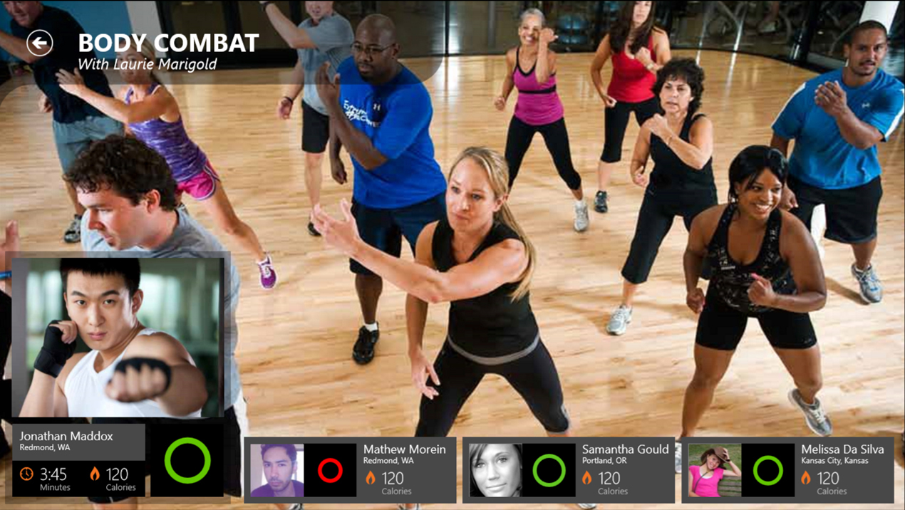 Screen capture of FitNet software - an exercise class is in progress on the main video feed, and links to other participants are shown across the bottom of the screen.