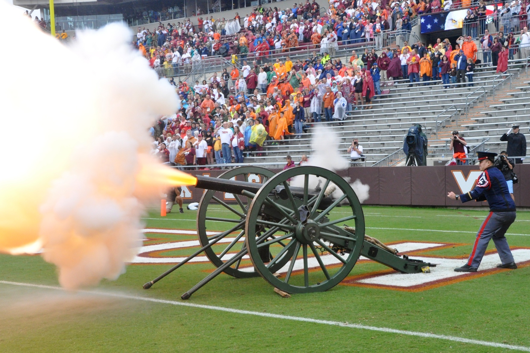 Skipper, the Virginia Tech Corps of Cadets cannon, firing during the National Anthem at a football game