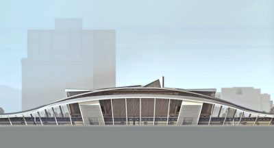 Computer rendering of an elongated transportation facility with a gracefully arched facade.