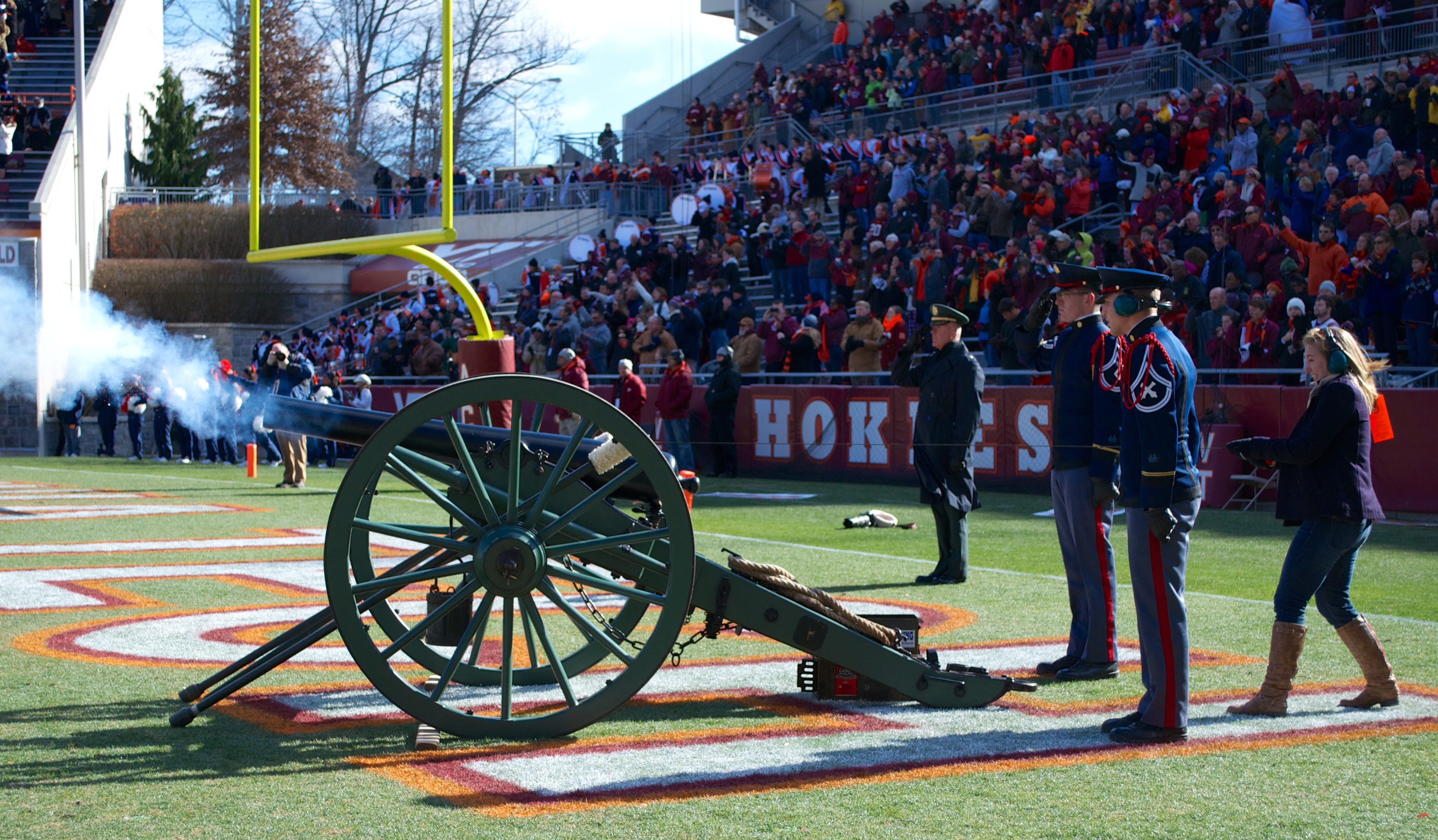 Wounded Warrior Project raffle winner fires Skipper prior to the 2012 Virginia Tech versus UVA game.