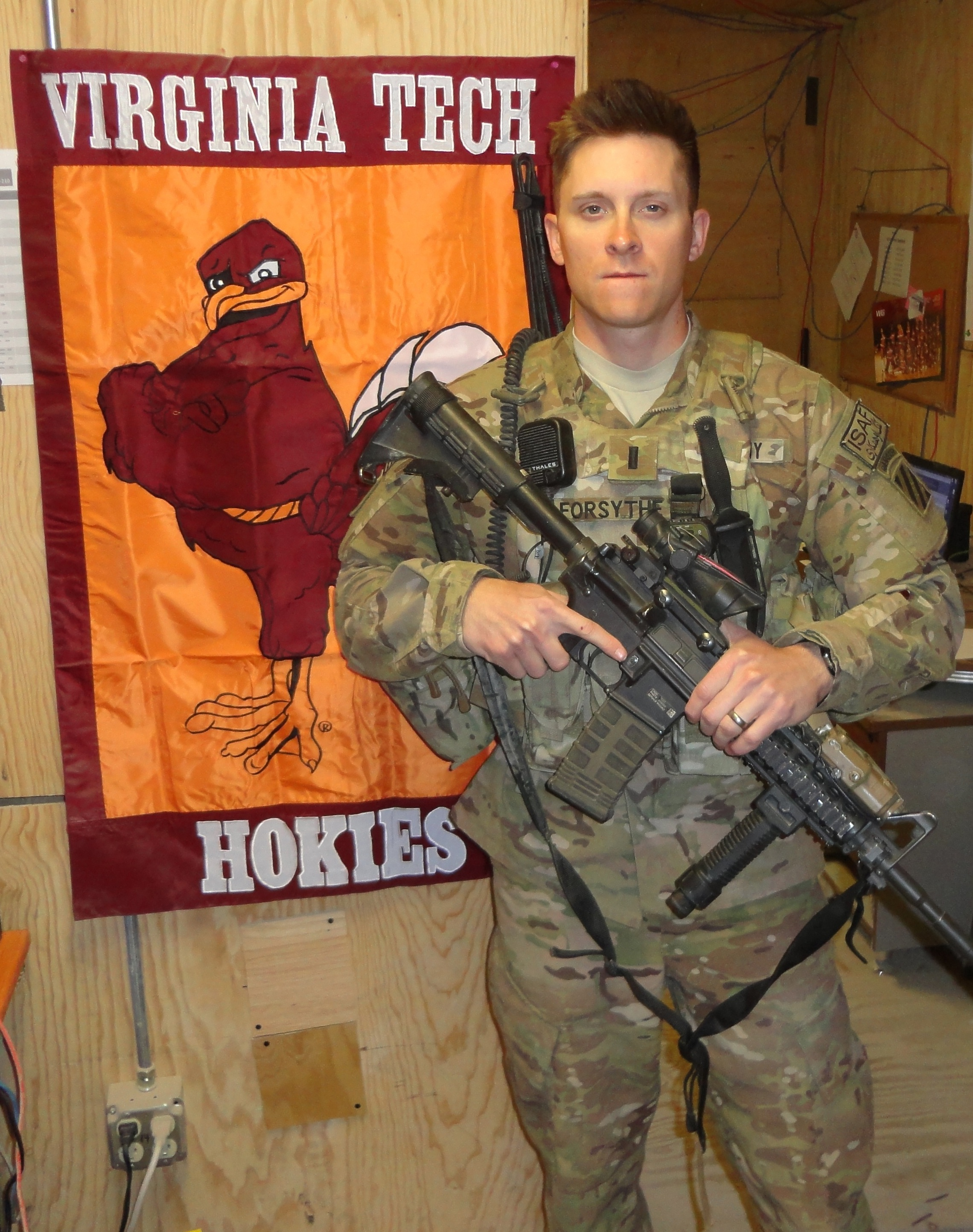 1st Lt. Scott Forsythe, U.S. Army, Virginia Tech Corps of Cadets Class of 2011 at his deployed location in Afghanistan