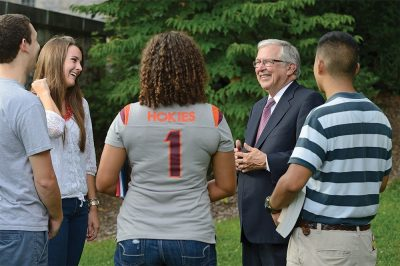 Virginia Tech President Charles W. Steger with students