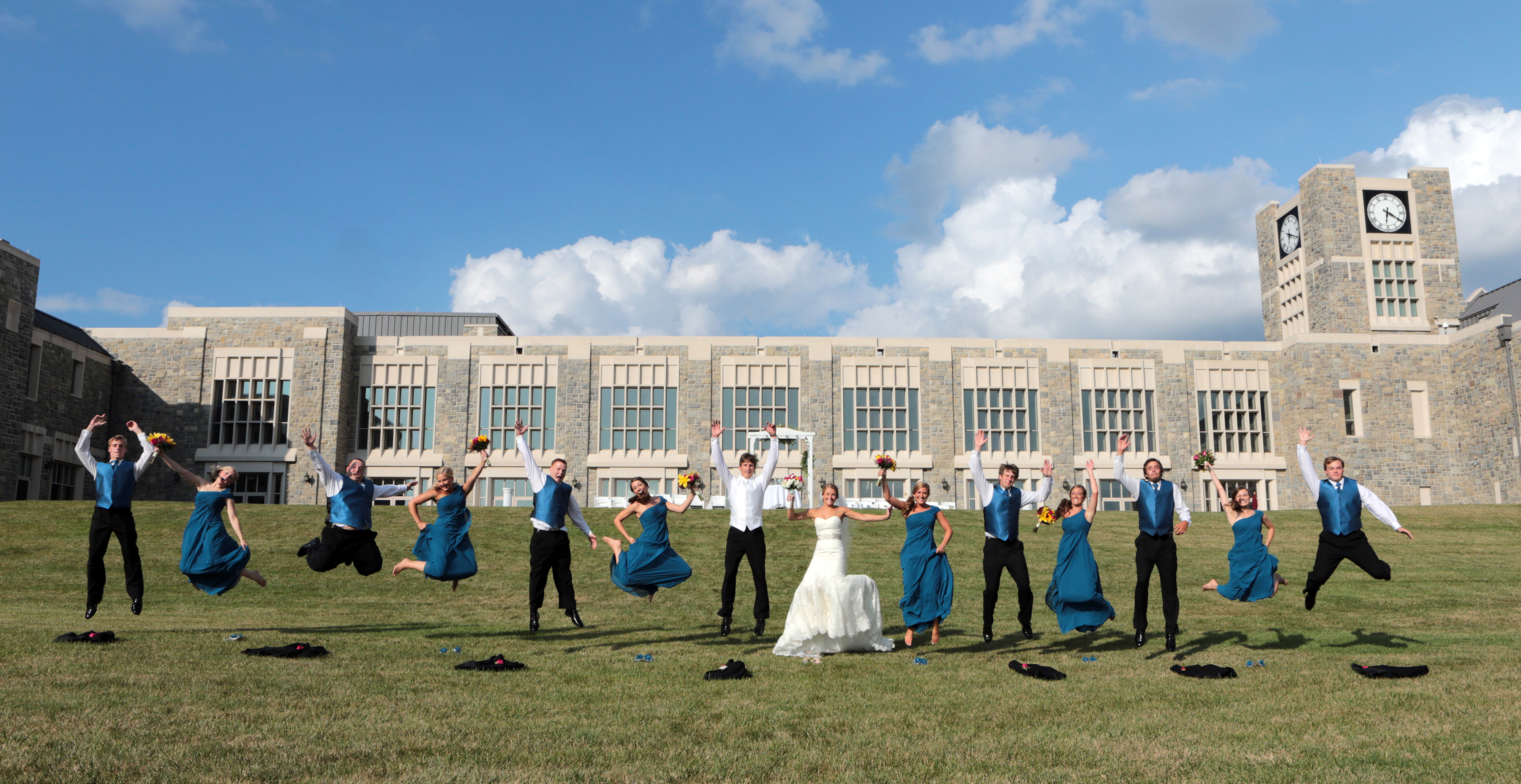 Bridal party on the great lawn at The Inn at Virginia Tech