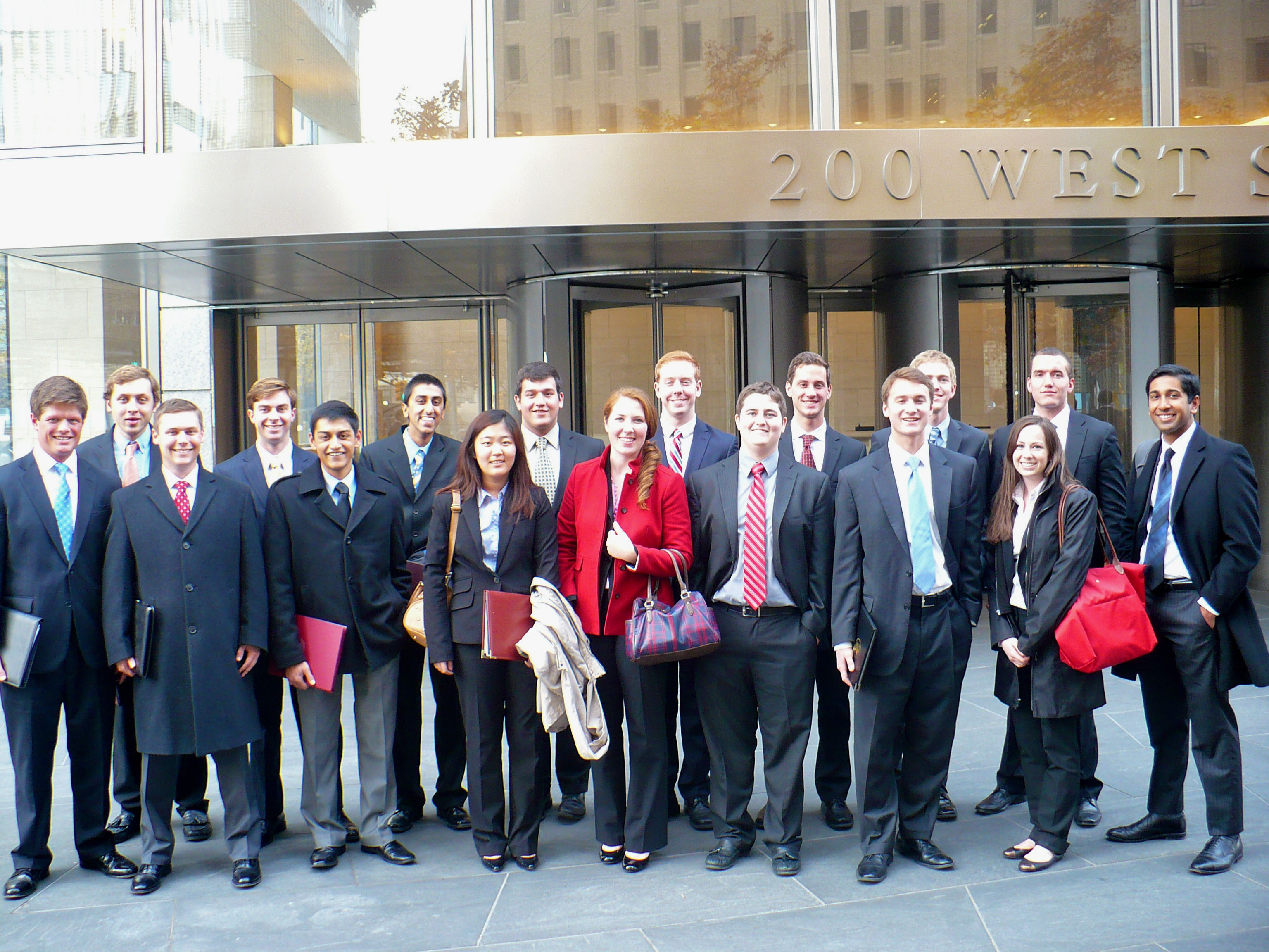 BASIS and SEED students pose for a picture outside the offices of Goldman Sachs at 200 West Street in New York.