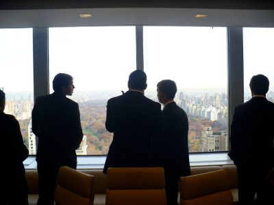 BASIS students take in the view of Central Park from the conference room of Alliance Bernstein during their visit to the firm.