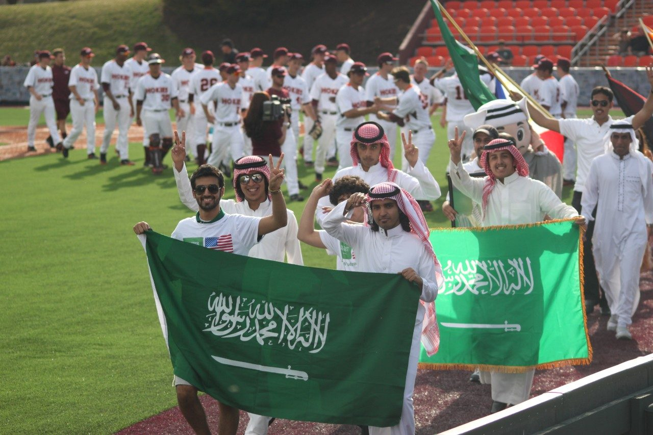The Saudi Students Club at Virginia Tech took part in the Parade of Nations opening ceremonies on English Field as part of the Hokie World Games.