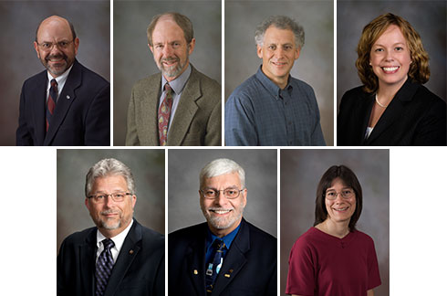 Provost Mark McNamee appointed seven faculty members to the Academy of Faculty Service. Top (left to right): W. Samuel Easterling, Kenneth Eriksson, Richard Hirsh, and Frances Keene. Bottom (left to right): Gary Long, Joseph Merola, and Ann Stevens.