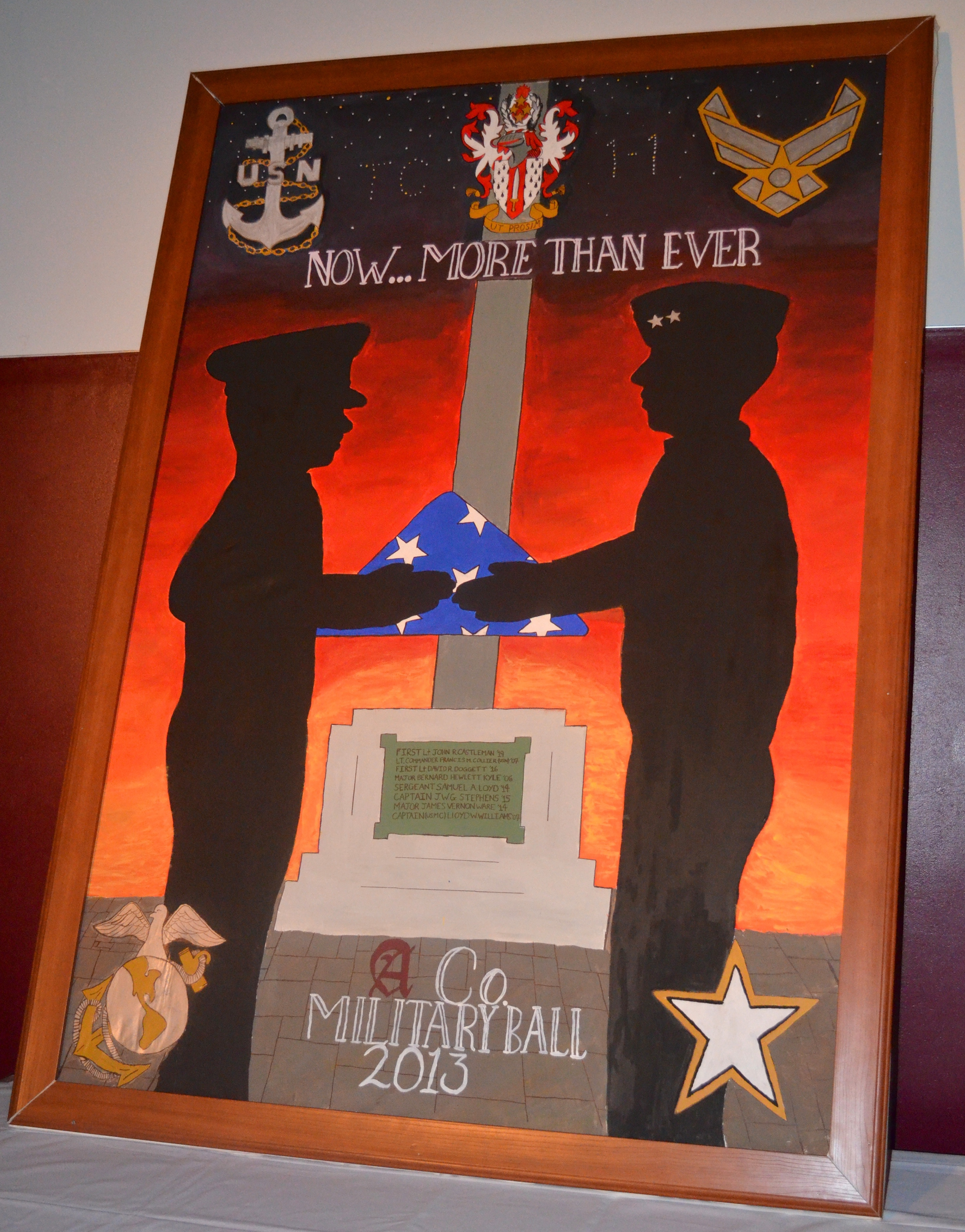 Each year the first year cadets from each company create a banner focusing on the theme of the Military Ball. This is the 2013 banner for Alpha Company.