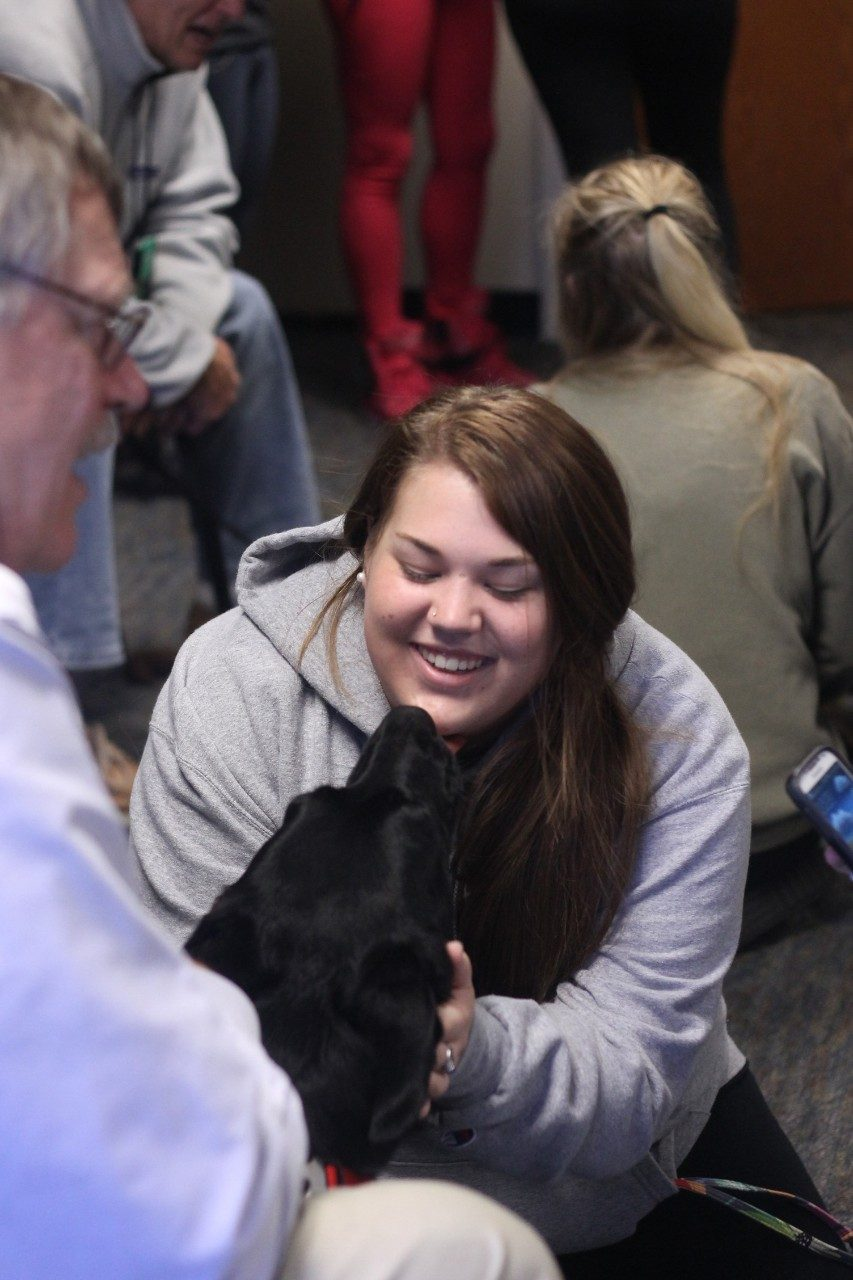 In December, the Pre-Veterinary Medical Association at Old Dominion University launched a therapy dog event modeled after one at Virginia Tech.